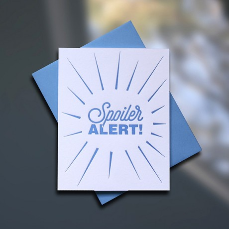 Spoiler Alert Letterpress Encouragement Card - Sky of Blue Cards - $4.50 single