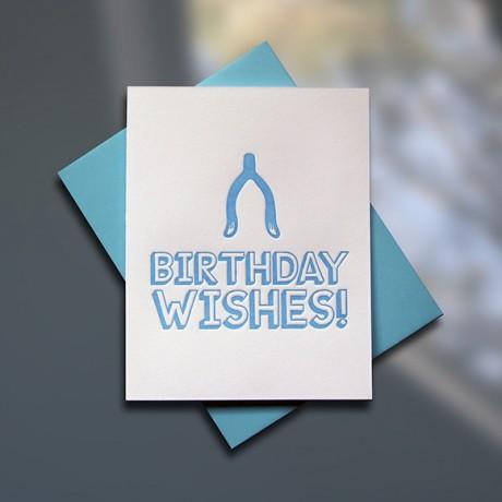 Wish Bone Letterpress Birthday Card - Sky of Blue Cards - $4.50 single