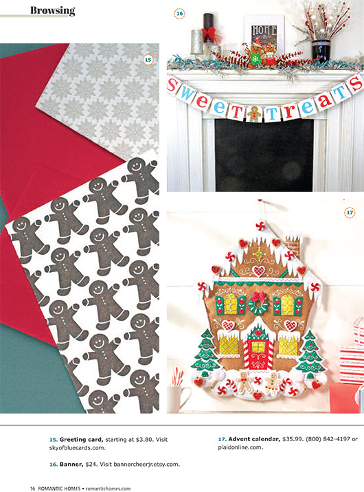 Sky of Blue Cards Gingerbread Men Pattern Holiday Mini Card featured in Romantic Homes Magazine 2015