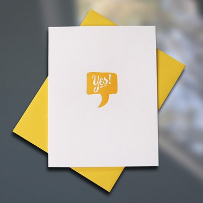 Yes! Letterpress Congratulations Card — Sky of Blue Cards — $5/single