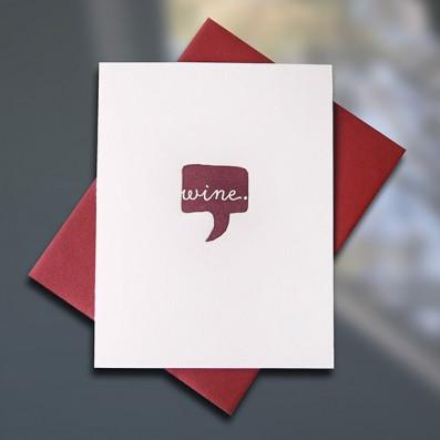 Wine Letterpress Friendship Card — Sky of Blue Cards — $5/single