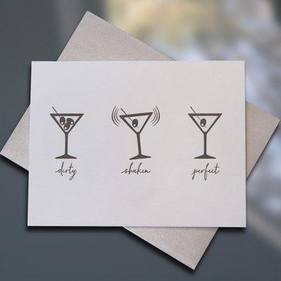 "Sky of Blue Cards ""Martinis"" Letterpress Birthday Card — Single Card $5— www.skyofbluecards.com"