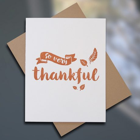 "Sky of Blue Cards ""Thankful"" Letterpress Thanksgiving Card — Single $5, Boxed Set of 8 cards $20 — www.skyofbluecards.com"