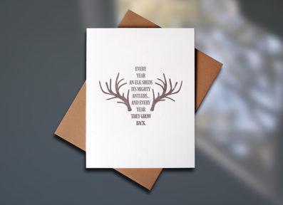 Elk Antlers Letterpress Encouragement Card by Sky of Blue Cards, $5 www.skyofbluecards.com