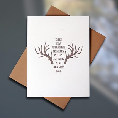 Elk Antlers Letterpress Encouragement Card by Sky of Blue Cards, $5 www.skyofbluecards.com