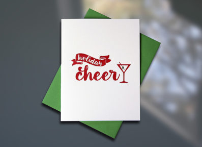 Holiday Cheer Letterpress Card by Sky of Blue Cards, $5 single/$20 Boxed Set of 8  www.skyofbluecards.com