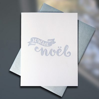 Joyeux Noel Holiday Letterpress Card by Sky of Blue Cards, $5 single/$20 Boxed Set of 8 www.skyofbluecards.com
