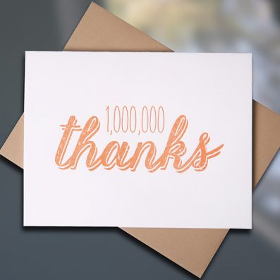 Million Thanks Letterpress Thank You Card by Sky of Blue Cards, $5 Single/$20 Boxed Set of 8 www.skyofbluecards.com