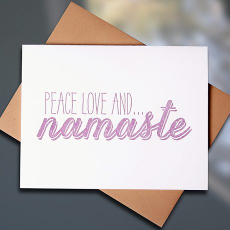 Namaste Letterpress Note Card by Sky of Blue Cards, $5 Single/$20 Boxed Set of 8 www.skyofbluecards.com