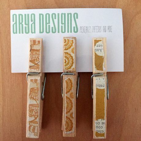 Arya Designs Handmade Magnet Clothespin Set — available at Sky of Blue Cards, $6 for set of 3. www.skyofbluecards.com