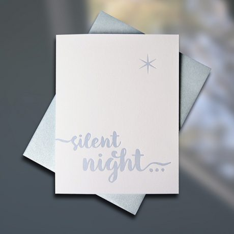 Silent Night Holiday Letterpress card by Sky of Blue Cards, $5 single/$20 boxed set of 8 www.skyofbluecards.com