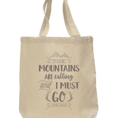 Mountains Are Calling cotton canvas tote bag by Sky of Blue Cards – $20 www.skyofbluecards.com