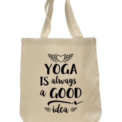 Yoga Good Idea cotton canvas tote bag by Sky of Blue Cards – $20 www.skyofbluecards.com