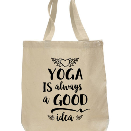 Yoga Good Idea cotton canvas tote bag by Sky of Blue Cards - $20 www.skyofbluecards.com