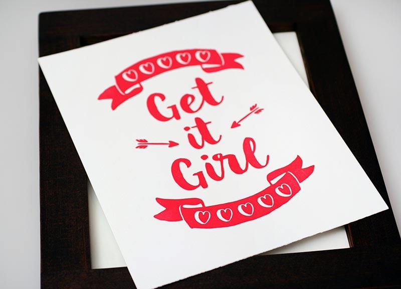 Get It Girl 8x10 Letterpress Art Print, $5.95