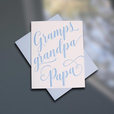 Gramps letterpress Father's Day card by Sky of Blue Cards. $5/single www.skyofbluecards.com