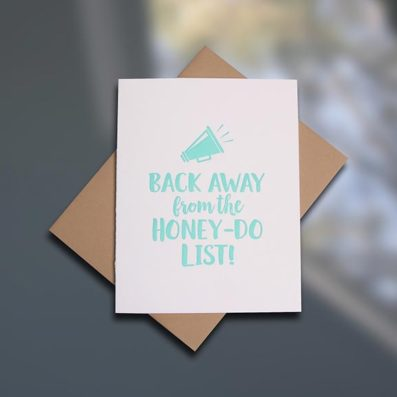 Honey-Do List letterpress Father's Day card by Sky of Blue Cards. $5/single www.skyofbluecards.com