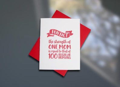 One Mom Letterpress Mother's Day card by Sky of Blue Cards. $5/single www.skyofbluecards.com