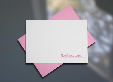 Thank You Sugar – Southern Series Letterpress Note Cards by Sky of Blue Cards. $4/single $18/boxed set of 6 www.skyofbluecards.com