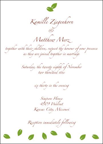 Kamille & Matt's Wedding Invitation - Inside of Card