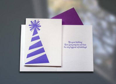 Birthday Party Hat Letterpress Card – Sky of Blue Cards – $4.50