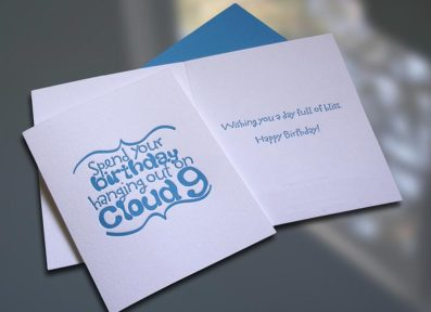 Cloud 9 Letterpress Birthday Card – Sky of Blue Cards – $4.50