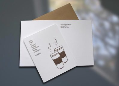 Coffee Friends Letterpress Card – Sky of Blue Cards – $4.50