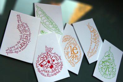 Boxed Set of 6 Concrete Poem Letterpress Note Cards – Sky of Blue Cards – $15.00