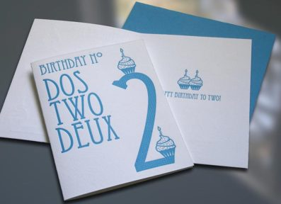 Dos-Two-Deux Letterpress Birthday Card – Sky of Blue Cards – $4.50