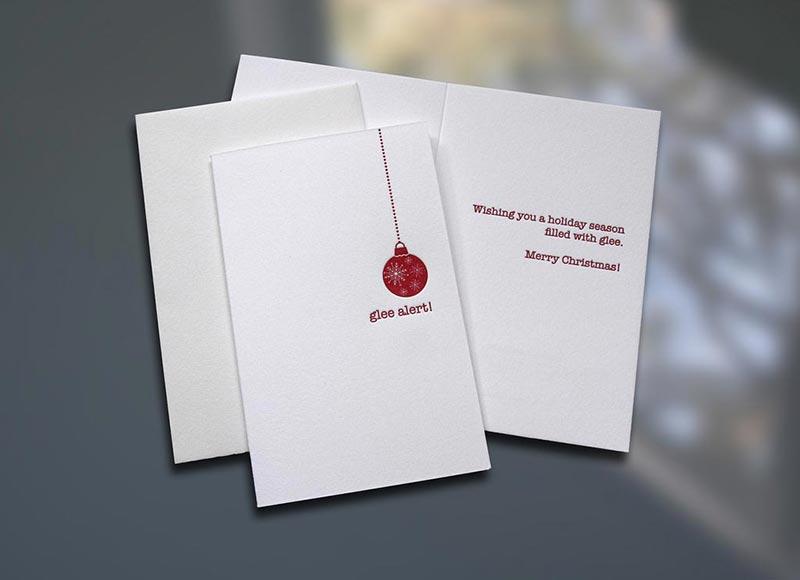 Letterpress Christmas Cards.Glee Alert Christmas Card