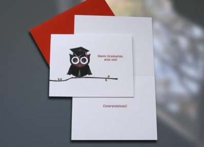 Graduate Owl Graduation Card – Sky of Blue Cards – $4.50 each