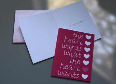 Heart Wants Valentine's Day Card – Sky of Blue Cards – $4.50