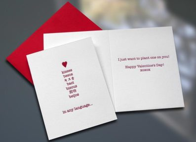 Kisses Valentine's Day Card – Sky of Blue Cards – $4.50 each