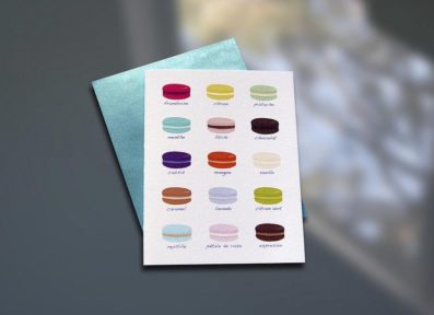 Macaron Chart Letterpress Note Card – Sky of Blue Cards – $4.50