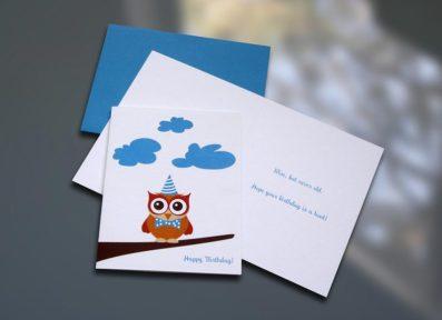 Owl Birthday Card – Sky of Blue Cards – $4.50
