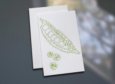 Pea Pod Poem Letterpress Note Card – Sky of Blue Cards – $3.80 each