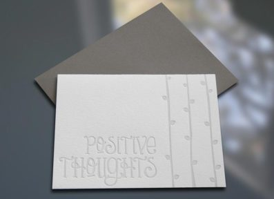 Positive Thoughts Letterpress Note Card – Sky of Blue Cards – $4.50