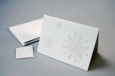 Snowflakes Letterpress Holiday Card – Sky of Blue Cards – $4.50 single $18 boxed set of 8