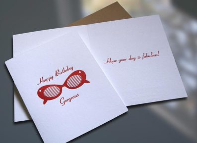 Sunglasses Letterpress Birthday Card – Sky of Blue Cards – $4.50