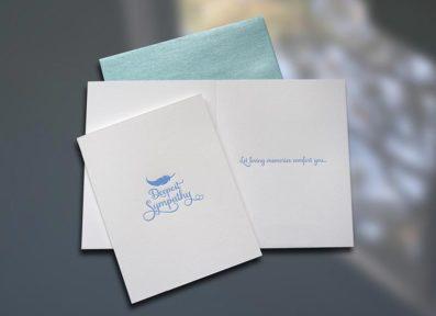 Sympathy Feather Letterpress Card – Sky of Blue Cards – $4.50