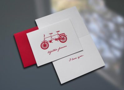 Together Forever Bike Valentine's Day Card – Sky of Blue Cards – $4.50 each