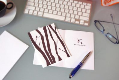 Trees Tweet Tweet Letterpress Thank You Card – Sky of Blue Cards – $4.50 single $18 boxed set of 8