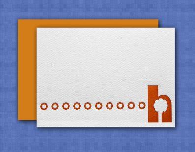 """""""H"""" Monogram Letterpress Note Cards – Sky of Blue Cards – Set of 6 $16"""