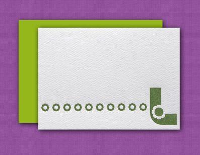 """""""L"""" Monogram Letterpress Note Cards – Sky of Blue Cards – Set of 6 $16"""