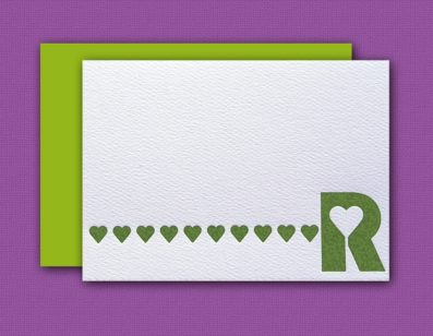 """R"" Monogram Letterpress Blank Note Cards – Sky of Blue Cards – $16 Box Set of 8"