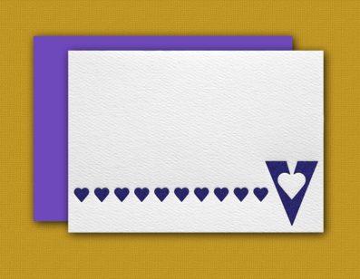 """V"" Monogram Letterpress Blank Note Cards – Sky of Blue Cards – $16 Box Set of 8"