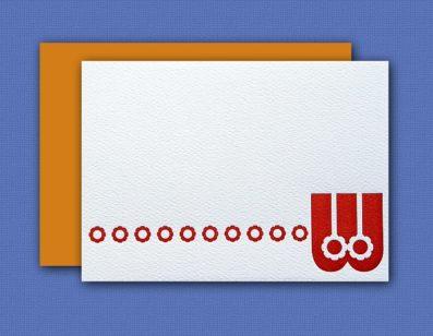 """W"" Monogram Letterpress Blank Note Cards – Sky of Blue Cards – $16 Box Set of 8"