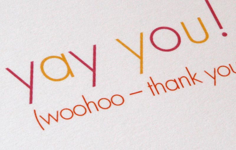 Yay you! Thank You Cards