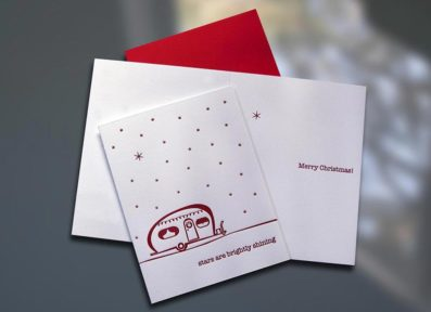 Holiday Camper Christmas Letterpress Card – Sky of Blue Cards – $4.50