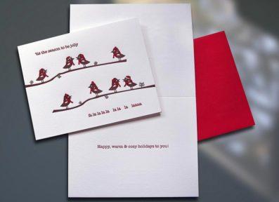 Birdies Holiday Letterpress Card – Sky of Blue Cards – $4.50